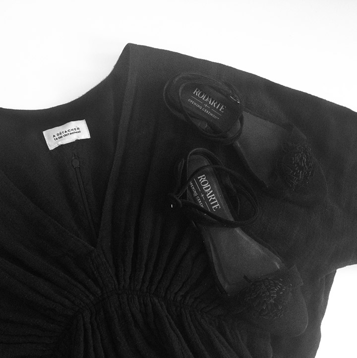 A Detacher Black Gauze Dress and Rodarte Black Suede Pom Sandals Women's Fashion Spring 2013 | DeSmitten