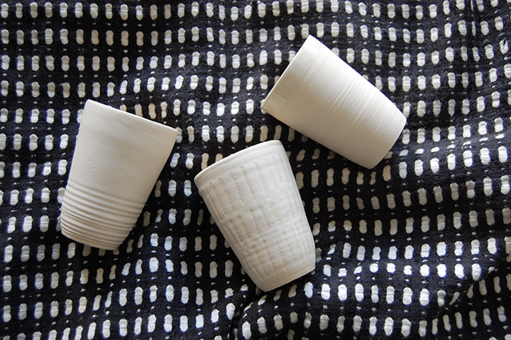 One to Watch- Brooklyn Based Potter Helen Levi White Textured Ceramic Cups | DeSmitten