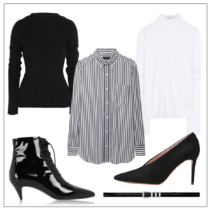 wish-list-of-basics-fall-2014-isabel-marant-striped-shirt-alexander-wang-ribbed-sweater-acne-turtleneck-saint-lauren-booties-saint-laurent-black-belt-women's-fashion-DeSmitten-